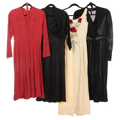 Emma Domb Long Sheath, Gothe Satin Dress, Ruth Roos Dress, and Other