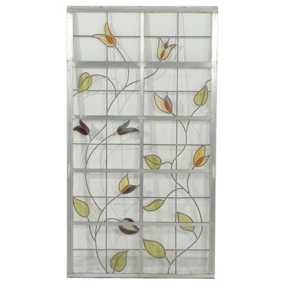 Metal Framed Stained Glass Floral Window