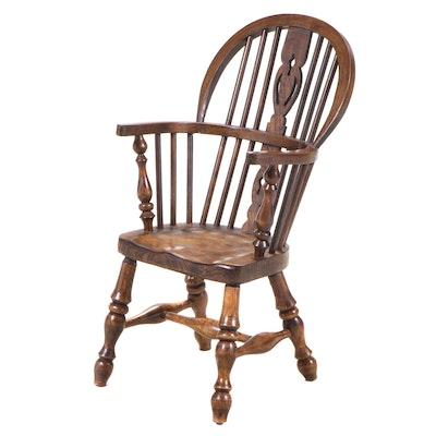 English Oak and Elm Child's Windsor Armchair, 20th Century