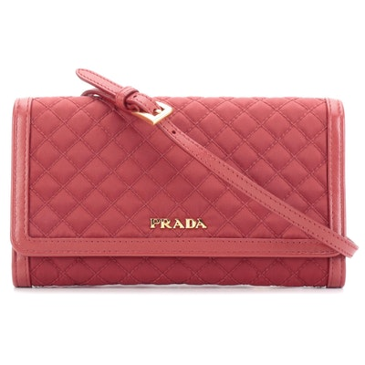 Prada Crossbody Wallet in Quilted Red Nylon Tessuto and Leather in Box