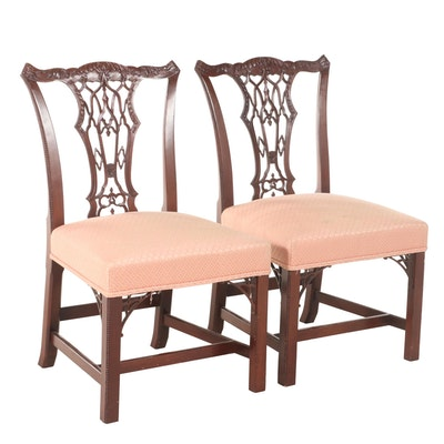 Pair of George III Style Mahogany Side Chairs, Late 20th Century