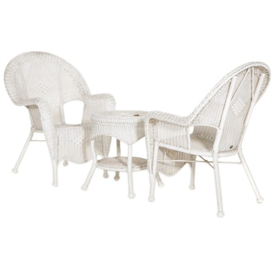 Hampton Bay Synthetic Wicker Patio Armchairs and Table