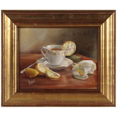 Still Life Oil Painting of Teacup