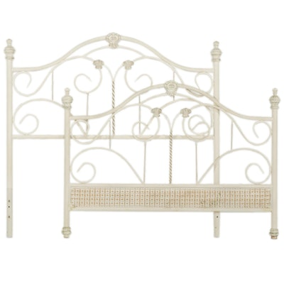 French Provincial Style White-Painted Iron Full Size Headboard and Footboard