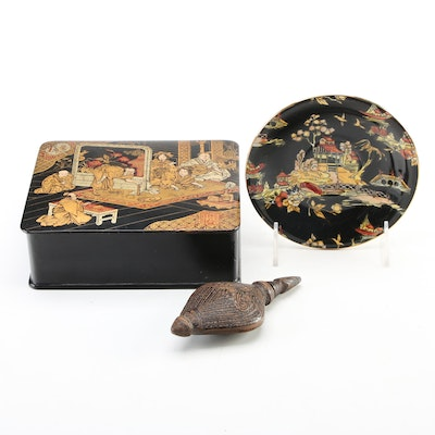 Royal Winton Porcelain Plate with Lacquerware Box and Turkish Wood Snuff Bottle