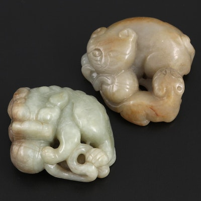 Chinese Carved Serpentine Guardian Lion  and Cat Figurines