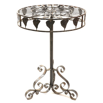 Iron Scroll Base Side Table, 20th Century