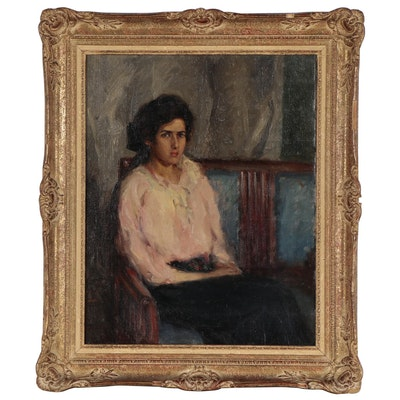 Portrait Oil Painting of Seated Woman, Mid-20th Century