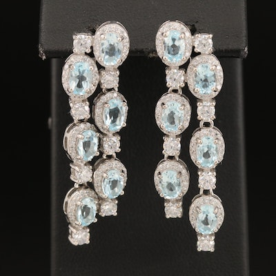 Sterling Topaz and Cubic Zirconia Earrings