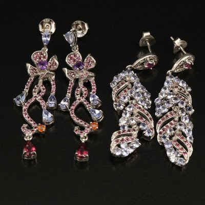 Sterling Flower Earrings Including Amethyst, Sapphire and Garnet
