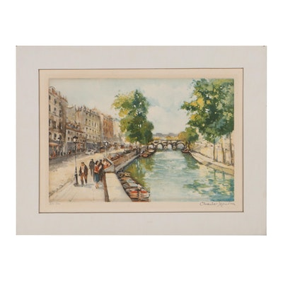 Charles Blondin Color Aquatint of Parisian Street Scene