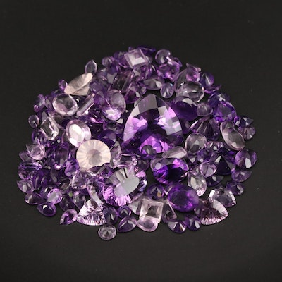 Loose 116.53 CTW Mixed Faceted Amethyst and Rose Quartz