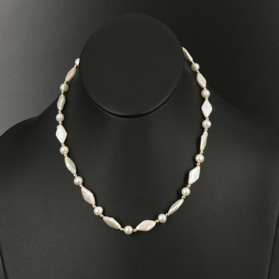 Pearl Necklace with 14K Accent Beads and Clasp
