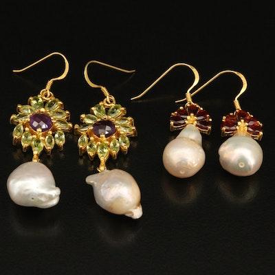 Sterling Earrings Including Pearl, Garnet and Peridot