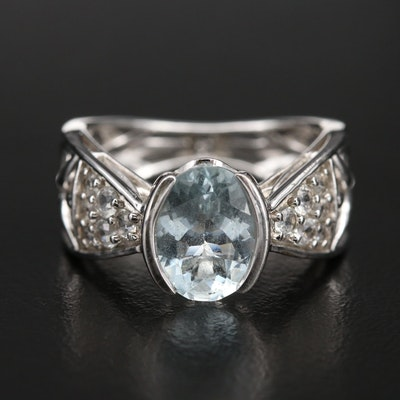 Sterling Aquamarine and Topaz Ring with Openwork Shank