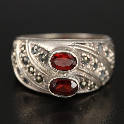Sterling Garnet and Marcasite Ring