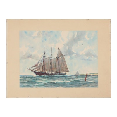 Offset Lithograph After Gordon Grant of Ship, Late 20th Century