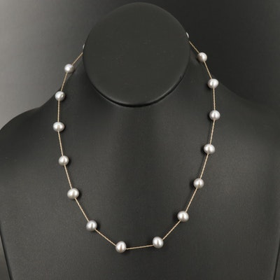 14K Pearl Station Necklace