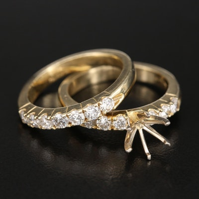 14K 0.82 CTW Diamond Semi-Mount Ring and Band Set