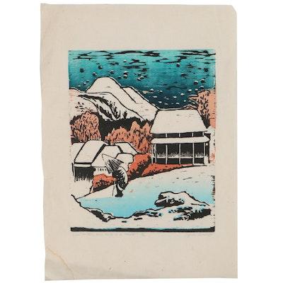 """Lynda Boswell Woodcut After Utagawa Hiroshige """"Evening Snow"""""""