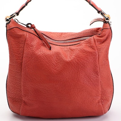 Gucci Bamboo Hobo Shoulder Bag Medium Red Pebbled Leather with Braided Handle