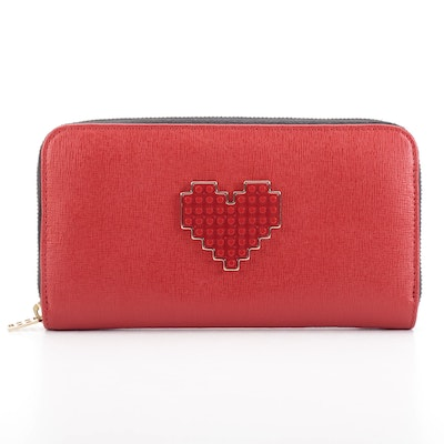 Le Petit Joueurs Zippered Wallet in Red Saffiano Leather with Heart Detail