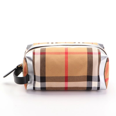 """Burberry Toiletry Case in """"House Check"""" Twill with Black Leather Trim"""
