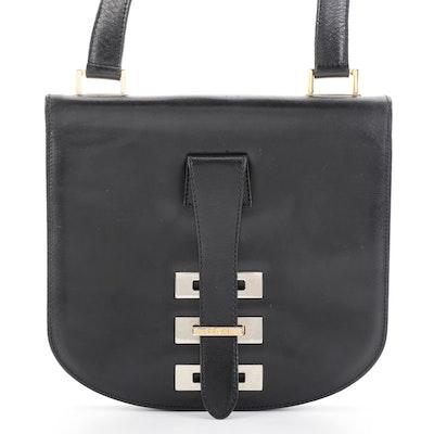 Fendi Flap Front Accordion Shoulder Bag in Black Leather
