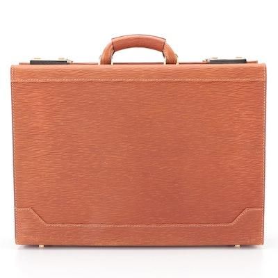 Amiet Locking Briefcase in Brown Epi Leather