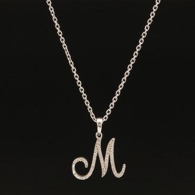 Sterling Diamond 'M' Pendant Necklace