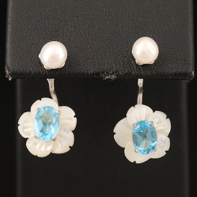 Sterling Topaz, Pearl and Mother of Pearl Earrings with Enhancer