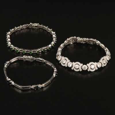 Sterling Bracelets with Diopside, Cubic Zirconia and Sapphire