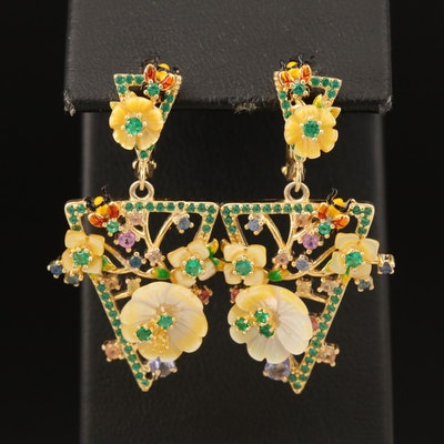 Sterling Floral Earrings Including Sapphire, Mother of Pearl and Cubic Zirconia