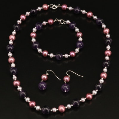Sterling Amethyst and Pearl Beaded Jewelry Set