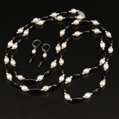 Sterling Pearl and Black Onyx Necklace and Earrings Set