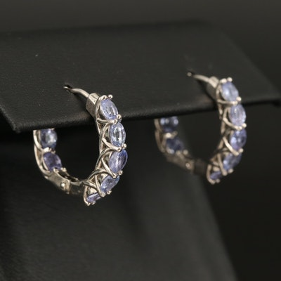 Sterling Tanzanite Inside-Out Hoop Earrings