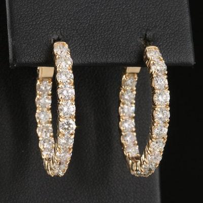 14K 4.08 CTW Diamond Inside-Out Oval Hoop Earrings