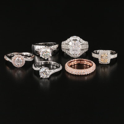 Sterling Silver Moissonite and Cubic Zirconia Assorted Rings