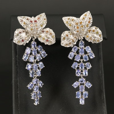 Sterling Tanzanite and Sapphire Flower Earrings