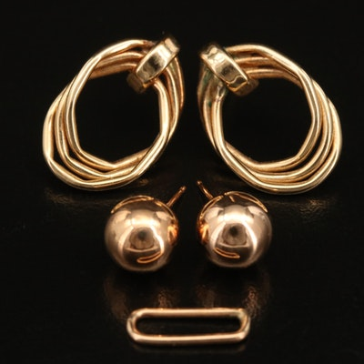 14K Scrap with Ball and Triple Curb Earrings