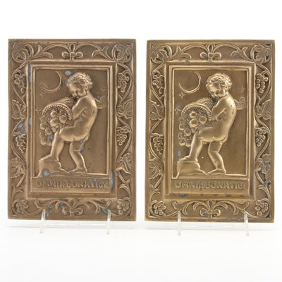 """Cast Brass Omnia Bona Tibi """"All Good Things To You"""" Putti Wall Plaques"""