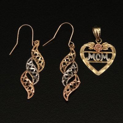 10K Tri-Color Filigree Drop Earrings and 'Mom' Heart Pendant