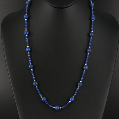 Lapis Lazuli Necklace with 14K Beads and Clasp