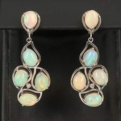 Sterling Opal and Cubic Zirconia Earrings