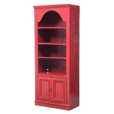 American Primitive Style Red-Painted Pine Bookcase, Late 20th Century