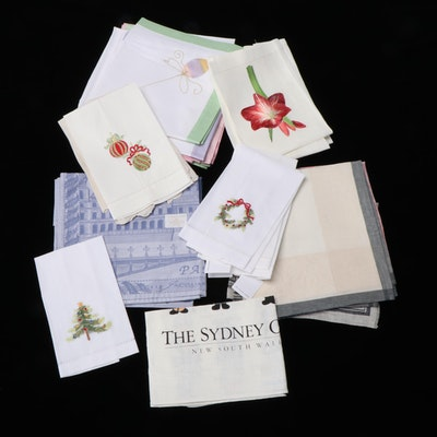 Embroidered and Hand-Painted Linen Napkins with Jacquard and Other Placemats
