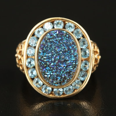 14K Druzy and Topaz Ring with Openwork Scroll Shoulders