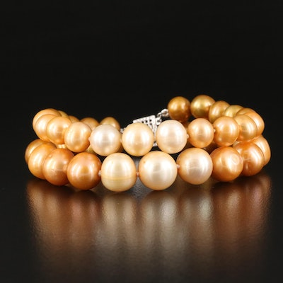 Graduated Double Strand Pearl Bracelet with Sterling Silver Clasp