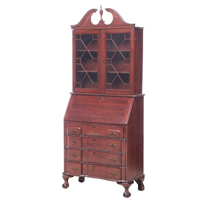 Chippendale Style Mahogany-Stained Blockfront Secretary Bookcase
