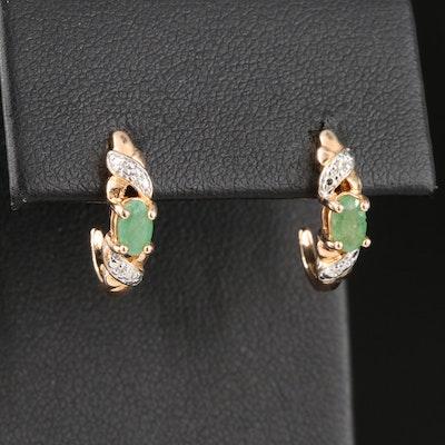 Sterling Silver Emerald and Diamond J Hoop Earrings